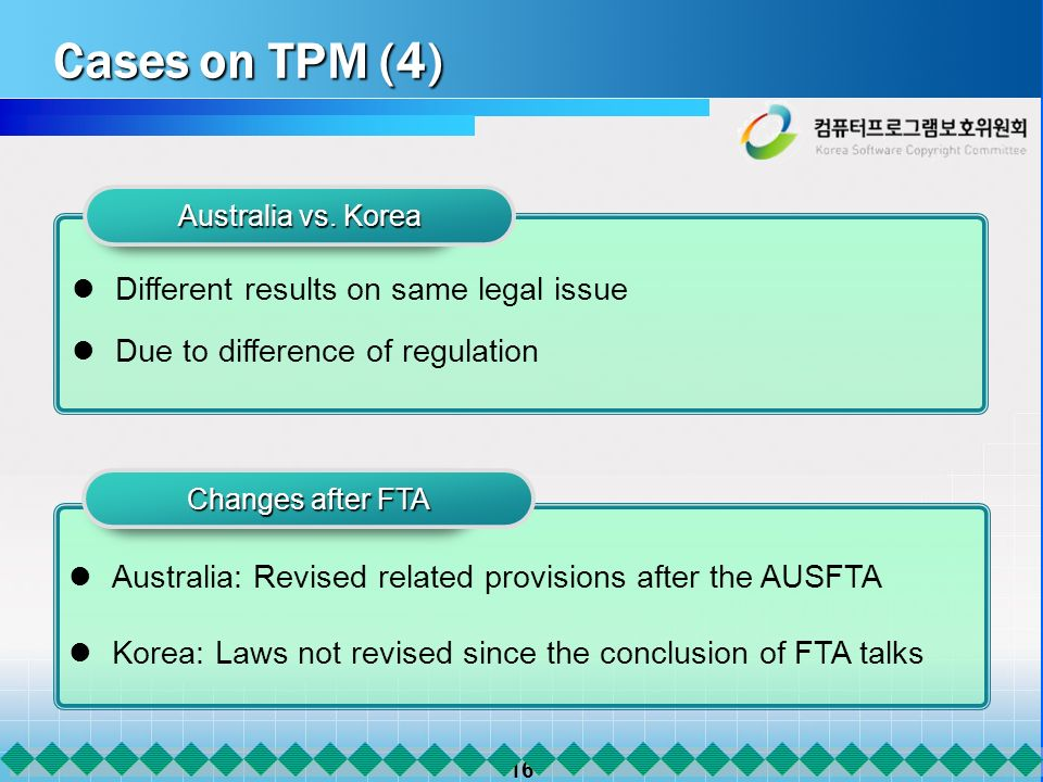 16 Cases on TPM (4) Cases on TPM (4) Australia vs. Korea Different results on same legal issue Due to difference of regulation Changes after FTA Austr