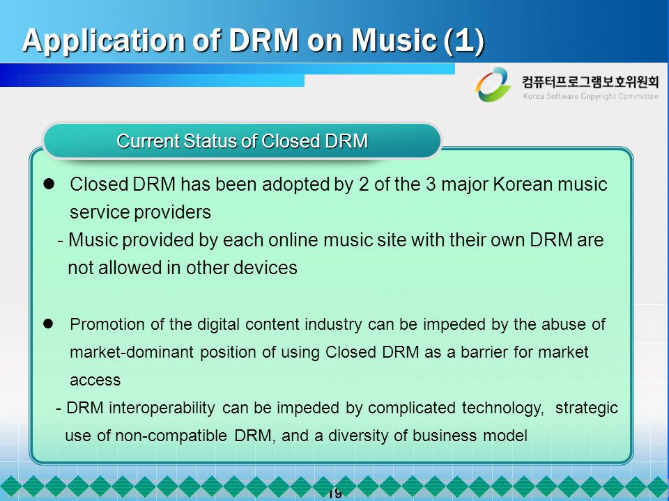 19 Application of DRM on Music (1) Current Status of Closed DRM Closed DRM has been adopted by 2 of the 3 major Korean music service providers - Music provided by each online music site with their own DRM are not allowed in other devices Promotion of the digital content industry can be impeded by the abuse of market-dominant position of using Closed DRM as a barrier for market access - DRM interoperability can be impeded by complicated technology, strategic use of non-compatible DRM, and a diversity of business model