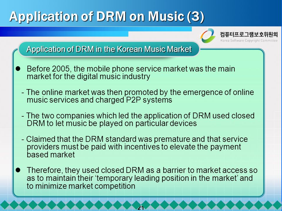 21 Application of DRM on Music (3) Application of DRM in the Korean Music Market Before 2005, the mobile phone service market was the main market for