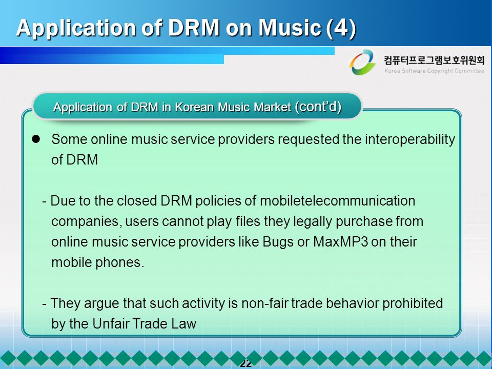 22 Application of DRM on Music (4) Application of DRM on Music (4) Application of DRM in Korean Music Market (contd) Some online music service providers requested the interoperability of DRM - Due to the closed DRM policies of mobiletelecommunication companies, users cannot play files they legally purchase from online music service providers like Bugs or MaxMP3 on their mobile phones.