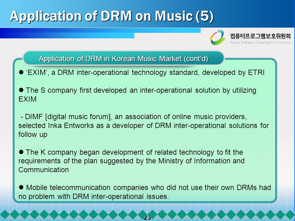 23 Application of DRM on Music (5) Application of DRM in Korean Music Market (contd) EXIM, a DRM inter-operational technology standard, developed by ETRI The S company first developed an inter-operational solution by utilizing EXIM - DIMF [digital music forum], an association of online music providers, selected Inka Entworks as a developer of DRM inter-operational solutions for follow up The K company began development of related technology to fit the requirements of the plan suggested by the Ministry of Information and Communication Mobile telecommunication companies who did not use their own DRMs had no problem with DRM inter-operational issues.
