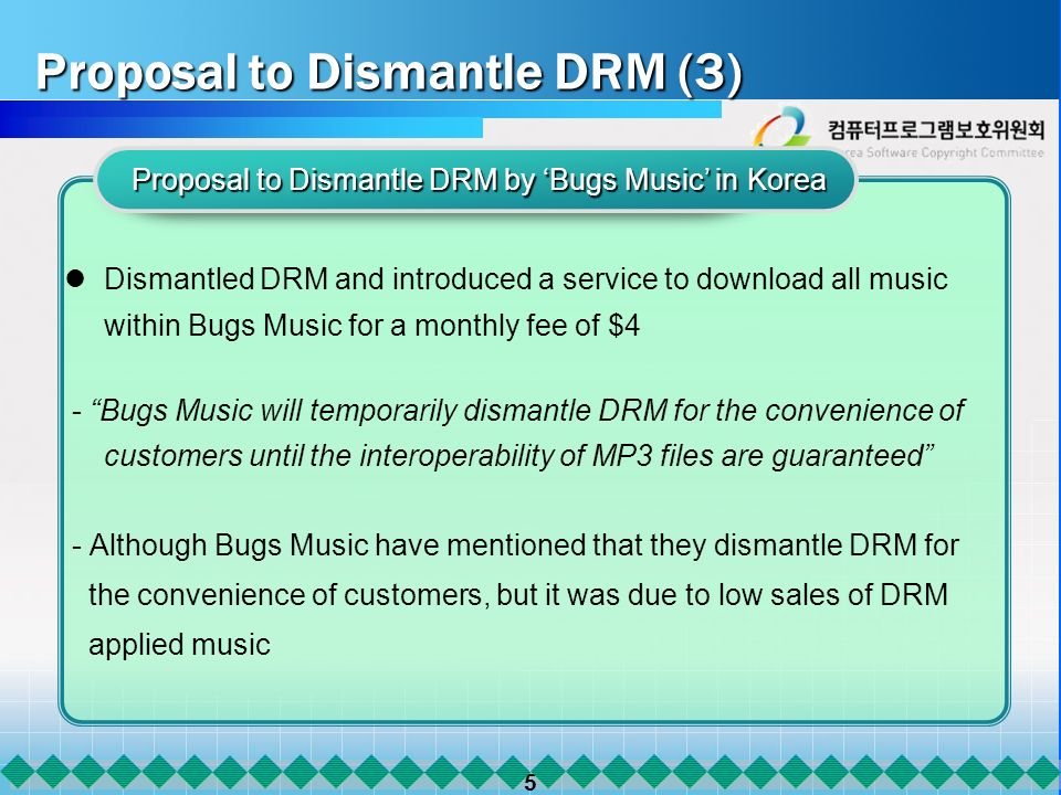 5 Proposal to Dismantle DRM (3) Proposal to Dismantle DRM (3) Dismantled DRM and introduced a service to download all music within Bugs Music for a monthly fee of $4 - Bugs Music will temporarily dismantle DRM for the convenience of customers until the interoperability of MP3 files are guaranteed - Although Bugs Music have mentioned that they dismantle DRM for the convenience of customers, but it was due to low sales of DRM applied music Proposal to Dismantle DRM by Bugs Music in Korea Proposal to Dismantle DRM by Bugs Music in Korea
