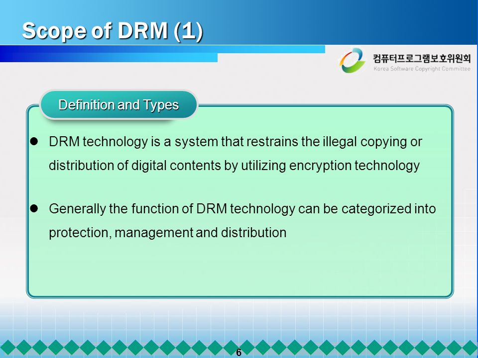 6 Scope of DRM (1) DRM technology is a system that restrains the illegal copying or distribution of digital contents by utilizing encryption technolog