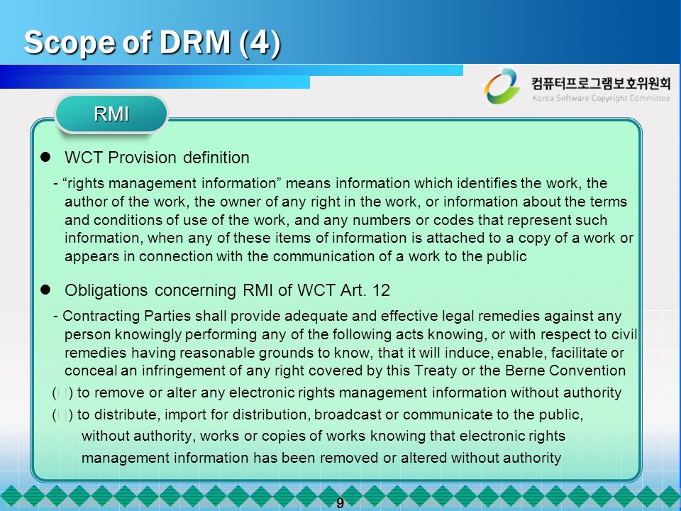 9 Scope of DRM (4) WCT Provision definition - rights management information means information which identifies the work, the author of the work, the o