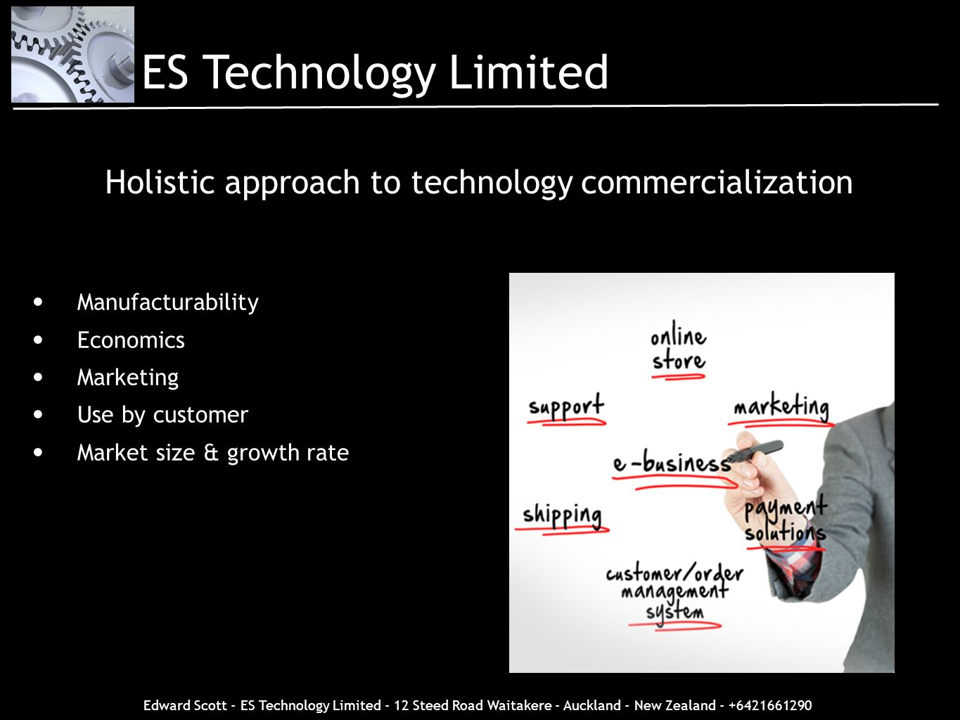 Edward Scott - ES Technology Limited - 12 Steed Road Waitakere - Auckland - New Zealand - +6421661290 Holistic approach to technology commercializatio