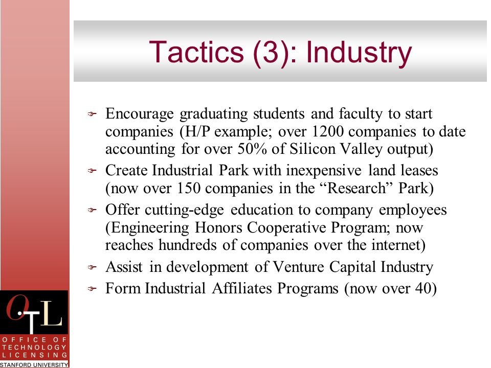 Tactics (3): Industry F Encourage graduating students and faculty to start companies (H/P example; over 1200 companies to date accounting for over 50%