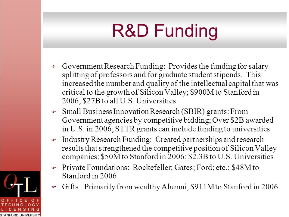 R&D Funding F Government Research Funding: Provides the funding for salary splitting of professors and for graduate student stipends. This increased t