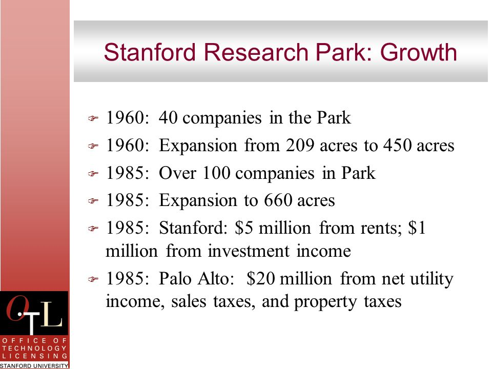 Stanford Research Park: Growth F 1960: 40 companies in the Park F 1960: Expansion from 209 acres to 450 acres F 1985: Over 100 companies in Park F 198