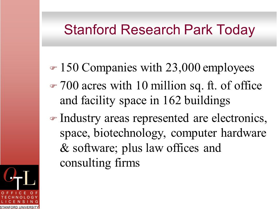 Stanford Research Park Today F 150 Companies with 23,000 employees F 700 acres with 10 million sq. ft. of office and facility space in 162 buildings F