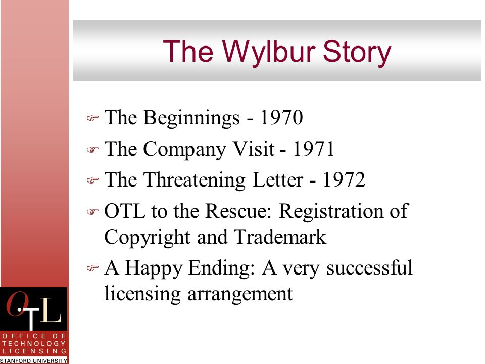 The Wylbur Story F The Beginnings - 1970 F The Company Visit - 1971 F The Threatening Letter - 1972 F OTL to the Rescue: Registration of Copyright and
