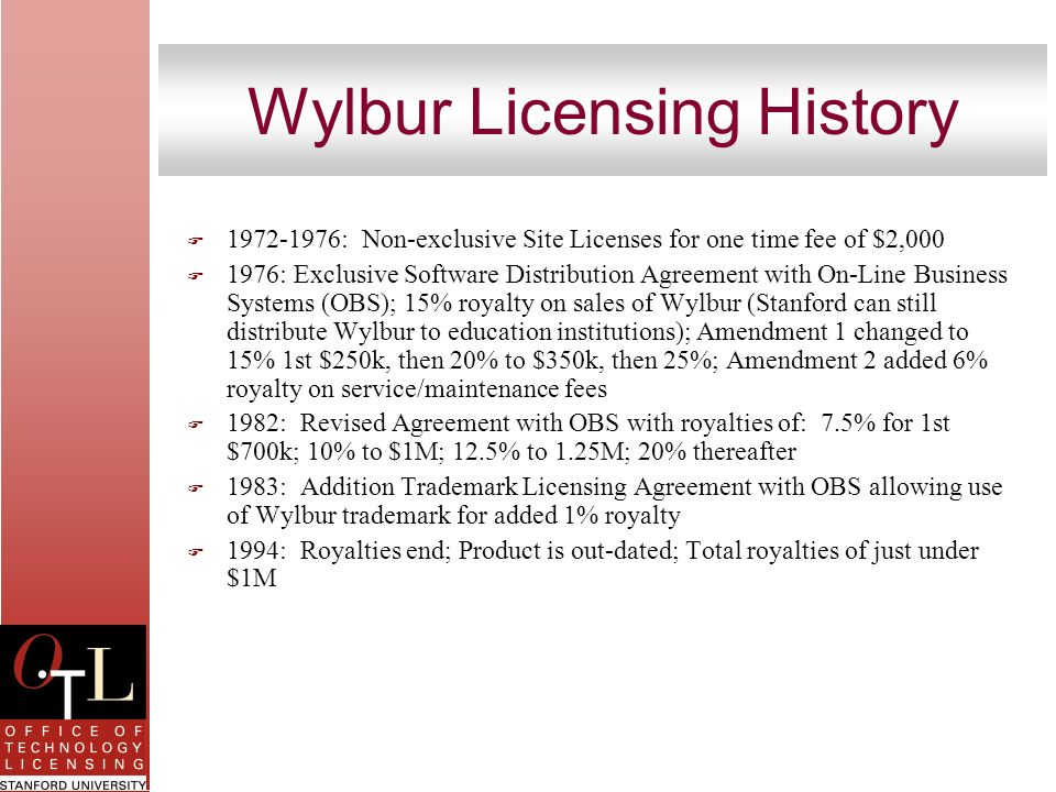Wylbur Licensing History F 1972-1976: Non-exclusive Site Licenses for one time fee of $2,000 F 1976: Exclusive Software Distribution Agreement with On
