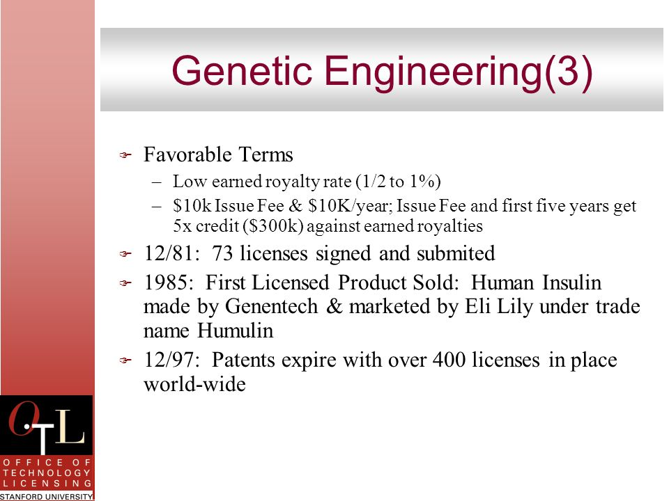 Genetic Engineering(3) F Favorable Terms –Low earned royalty rate (1/2 to 1%) –$10k Issue Fee & $10K/year; Issue Fee and first five years get 5x credi