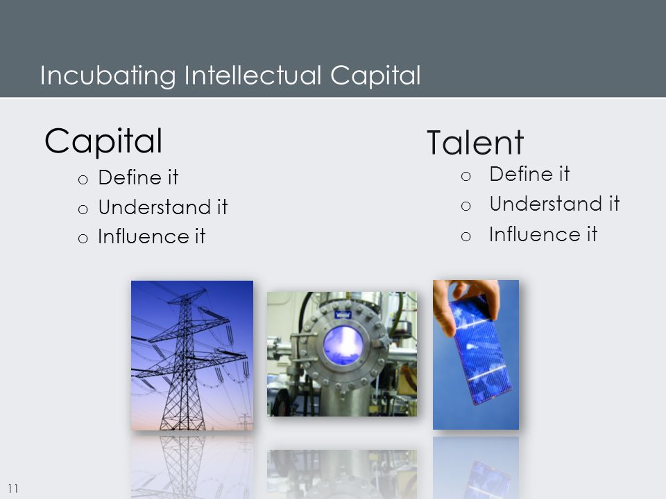 Incubating Intellectual Capital Capital o Define it o Understand it o Influence it Talent o Define it o Understand it o Influence it 11