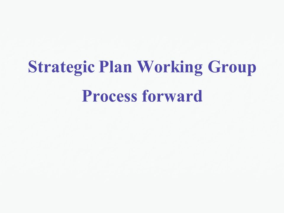 Strategic Plan Working Group Process forward