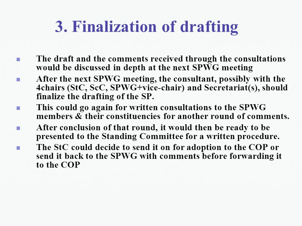 3. Finalization of drafting The draft and the comments received through the consultations would be discussed in depth at the next SPWG meeting After t