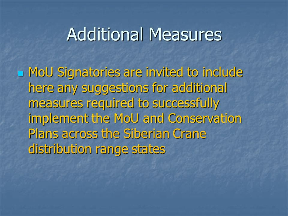 Additional Measures MoU Signatories are invited to include here any suggestions for additional measures required to successfully implement the MoU and