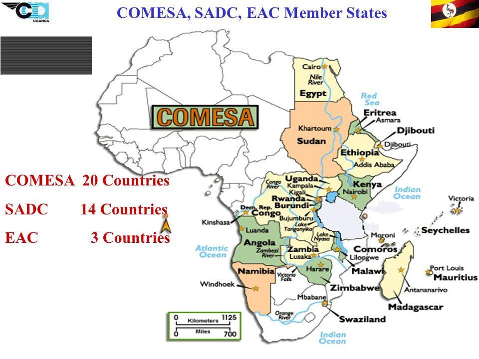 6 COMESA, SADC, EAC Member States COMESA 20 Countries SADC 14 Countries EAC 3 Countries