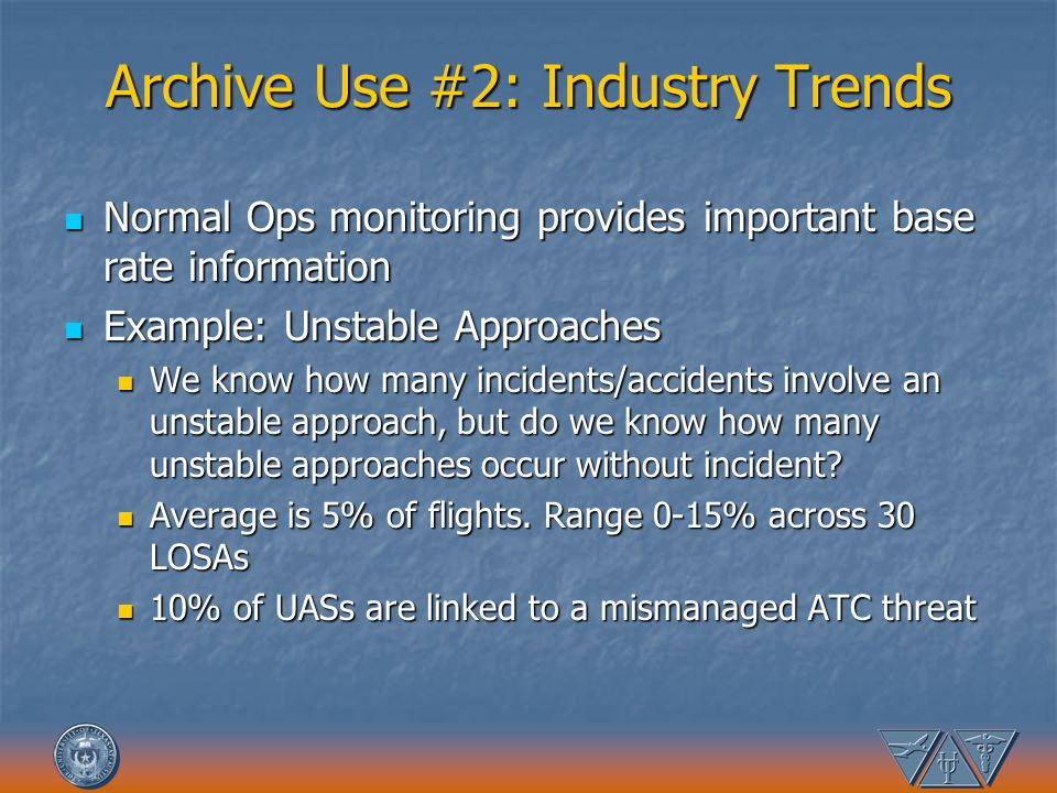 Archive Use #2: Industry Trends Normal Ops monitoring provides important base rate information Normal Ops monitoring provides important base rate info
