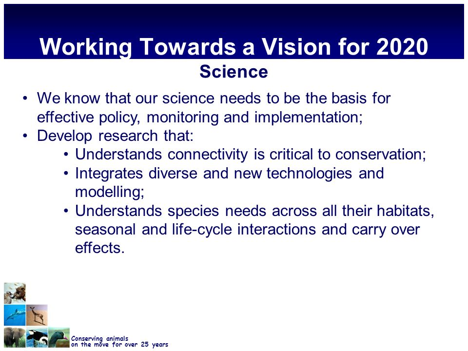 Conserving animals on the move for over 25 years Working Towards a Vision for 2020 Science We know that our science needs to be the basis for effective policy, monitoring and implementation; Develop research that: Understands connectivity is critical to conservation; Integrates diverse and new technologies and modelling; Understands species needs across all their habitats, seasonal and life-cycle interactions and carry over effects.