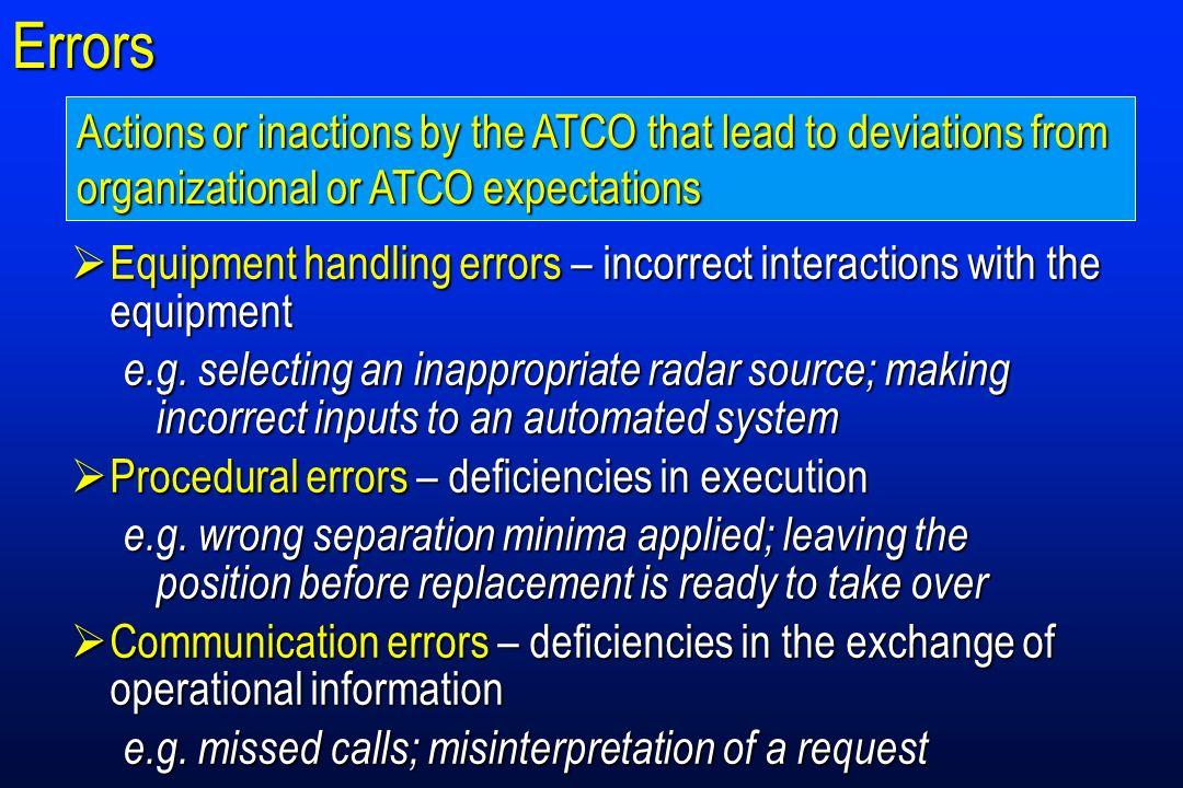 Errors Equipment handling errors – incorrect interactions with the equipment Equipment handling errors – incorrect interactions with the equipment e.g.