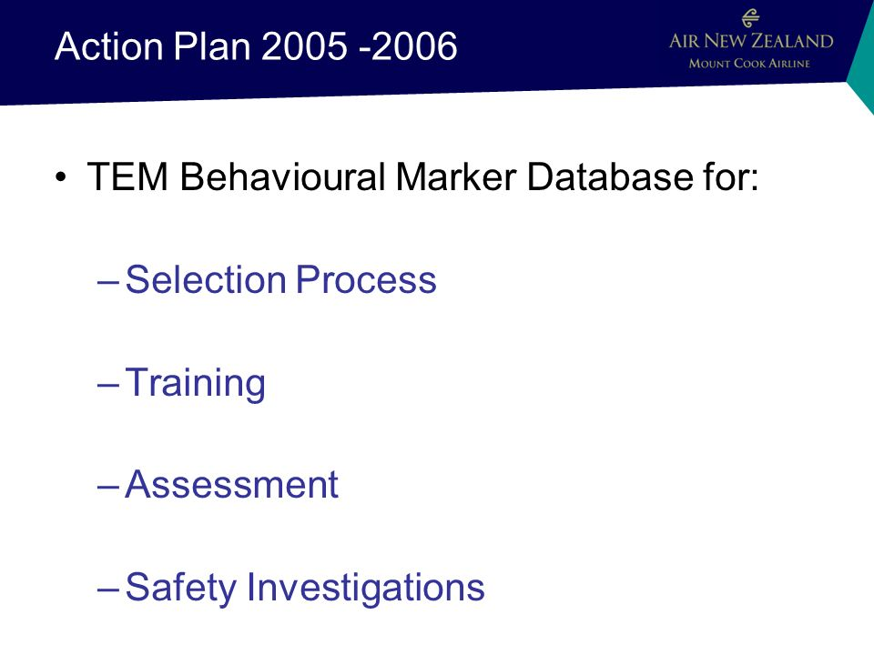 Action Plan 2005 -2006 TEM Behavioural Marker Database for: –Selection Process –Training –Assessment –Safety Investigations