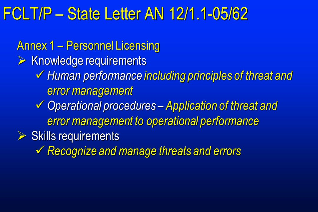 FCLT/P – State Letter AN 12/1.1-05/62 Annex 1 – Personnel Licensing Knowledge requirements Knowledge requirements Human performance including principl