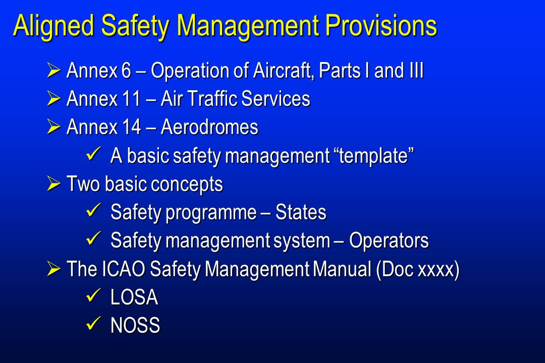 Aligned Safety Management Provisions Annex 6 – Operation of Aircraft, Parts I and III Annex 6 – Operation of Aircraft, Parts I and III Annex 11 – Air