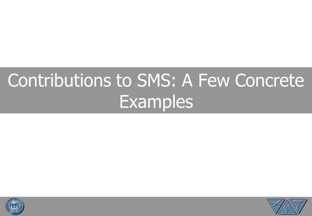 Contributions to SMS: A Few Concrete Examples