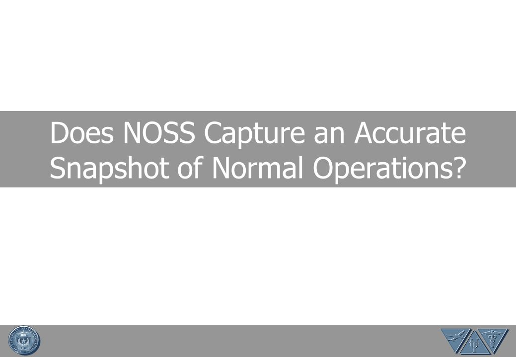 NOSS Success Factors NOSS success is dependent upon methodology and execution Low controller trust = Low quality data because there will be no differentiation between NOSS and proficiency checks Angel Performance Natural Performance Formal Check Nobody Regulator NOSS Observer - NOSS value + - + - Controller Trust + - +