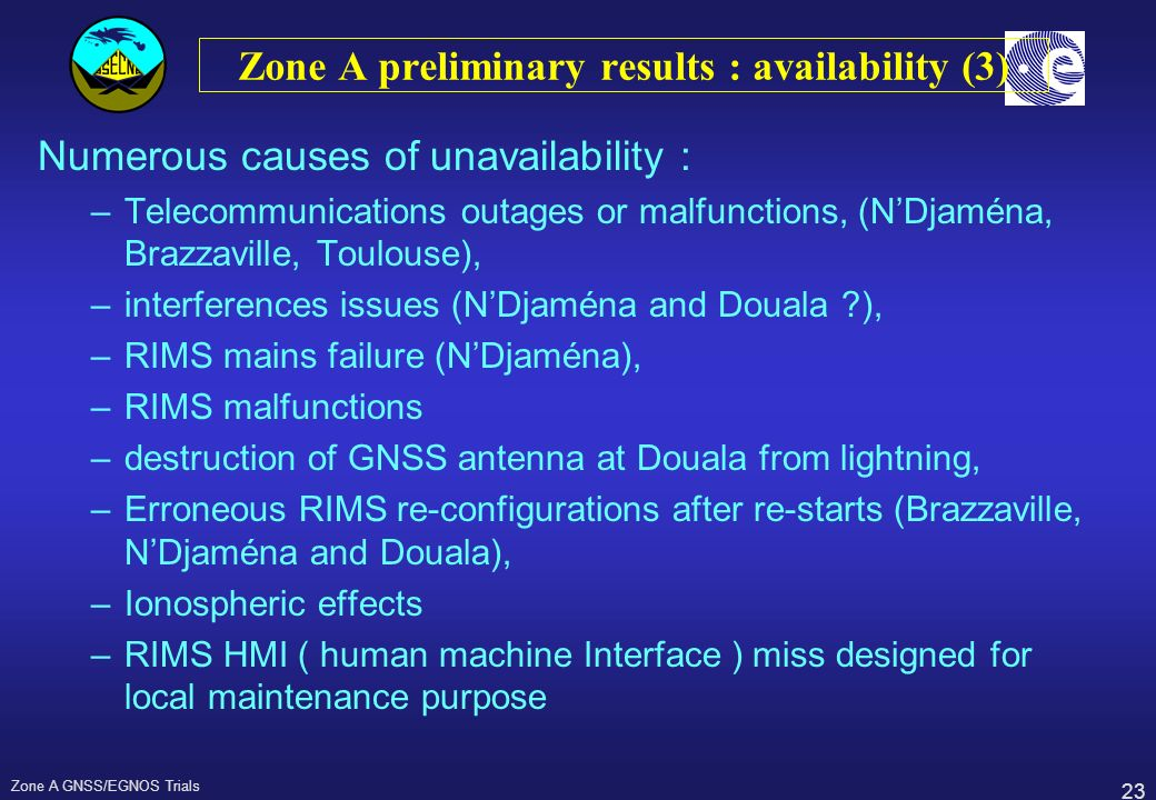 23 Zone A GNSS/EGNOS Trials Zone A preliminary results : availability (3) Numerous causes of unavailability : –Telecommunications outages or malfuncti