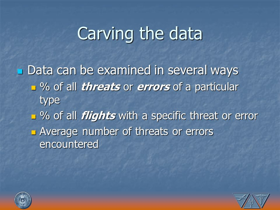Carving the data Data can be examined in several ways Data can be examined in several ways % of all threats or errors of a particular type % of all th