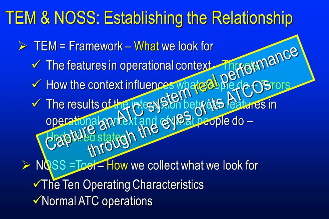 TEM & NOSS: Establishing the Relationship The features in operational context – Threats The features in operational context – Threats How the context