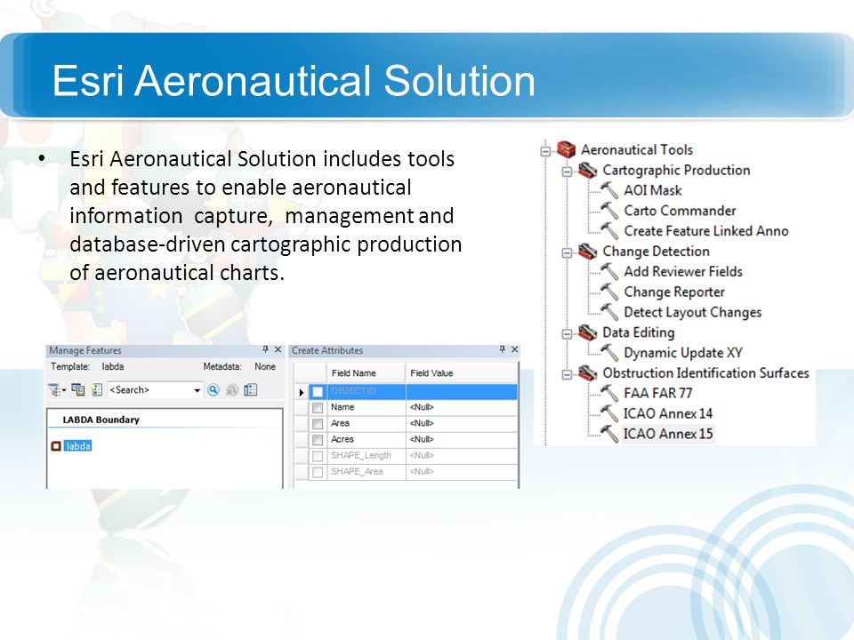 Esri Aeronautical Solution Esri Aeronautical Solution includes tools and features to enable aeronautical information capture, management and database-