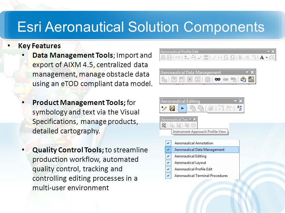 Esri Aeronautical Solution Components Key Features Data Management Tools; Import and export of AIXM 4.5, centralized data management, manage obstacle