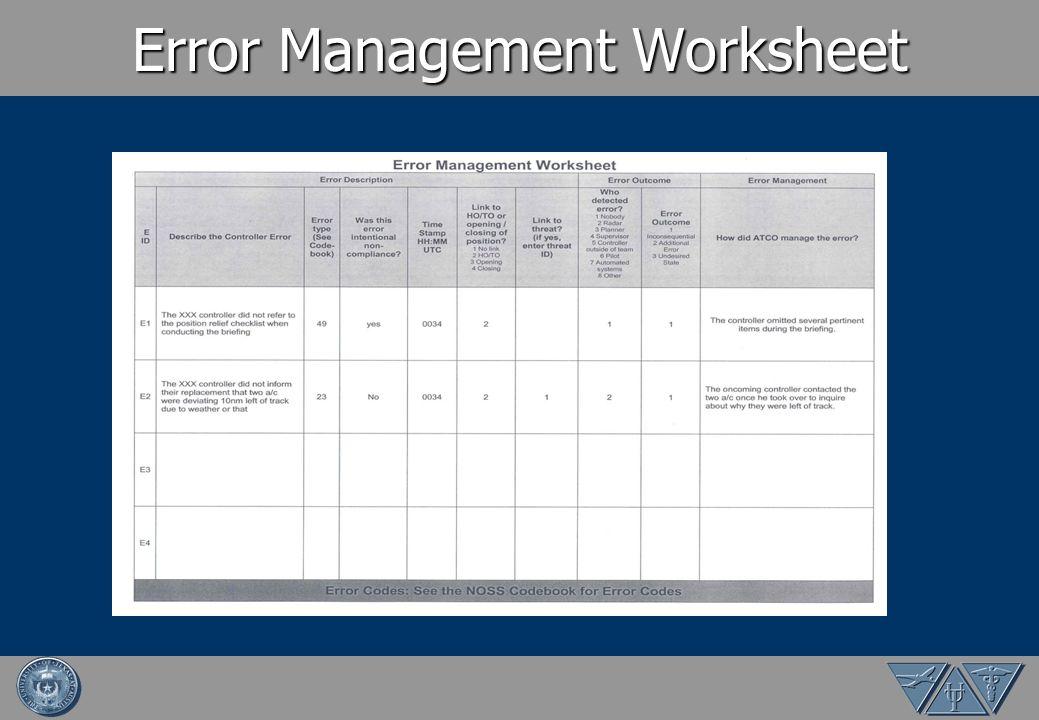 Error Management Worksheet