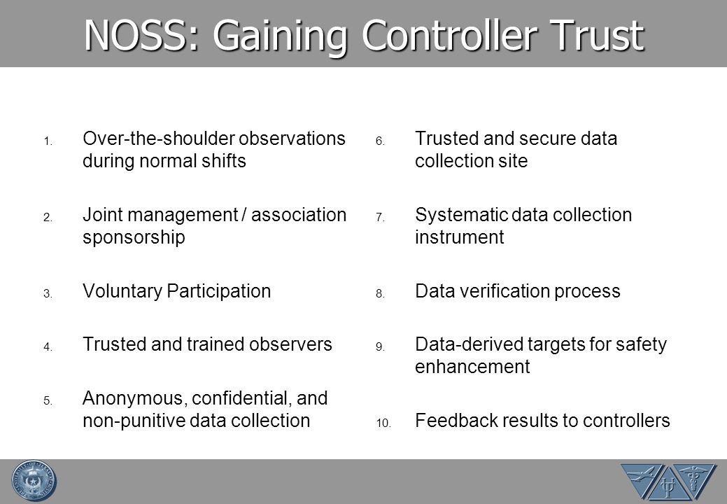 NOSS: Gaining Controller Trust 1. Over-the-shoulder observations during normal shifts 2. Joint management / association sponsorship 3. Voluntary Parti