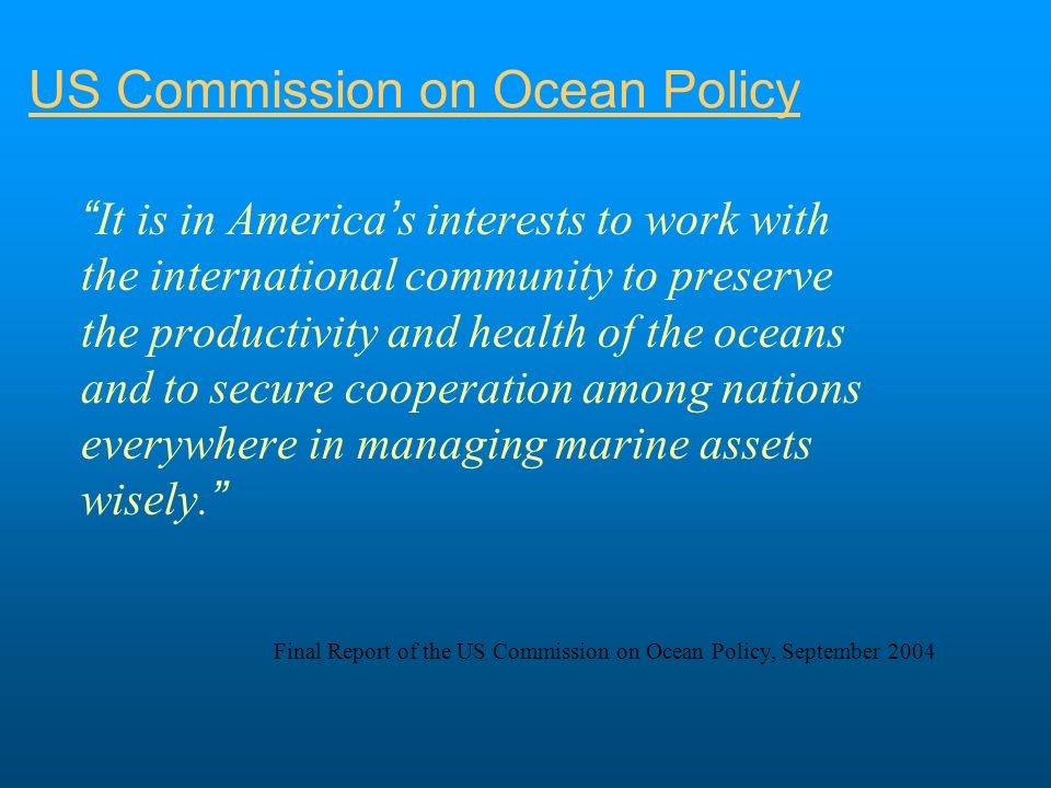US leadership Reauthorization of the Magnuson-Stevens Fishery Conservation and Management Act promotes the science-based fishery management techniques successfully developed in the North Pacific ACAP can act as a vehicle for U.S.
