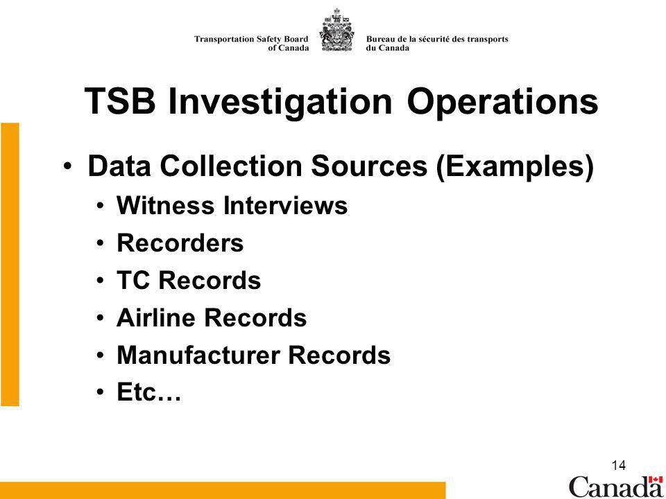 14 TSB Investigation Operations Data Collection Sources (Examples) Witness Interviews Recorders TC Records Airline Records Manufacturer Records Etc…