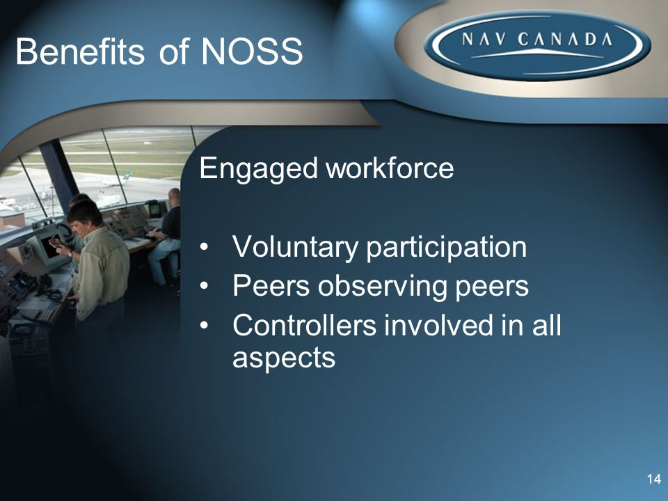 Benefits of NOSS Engaged workforce Voluntary participation Peers observing peers Controllers involved in all aspects 14