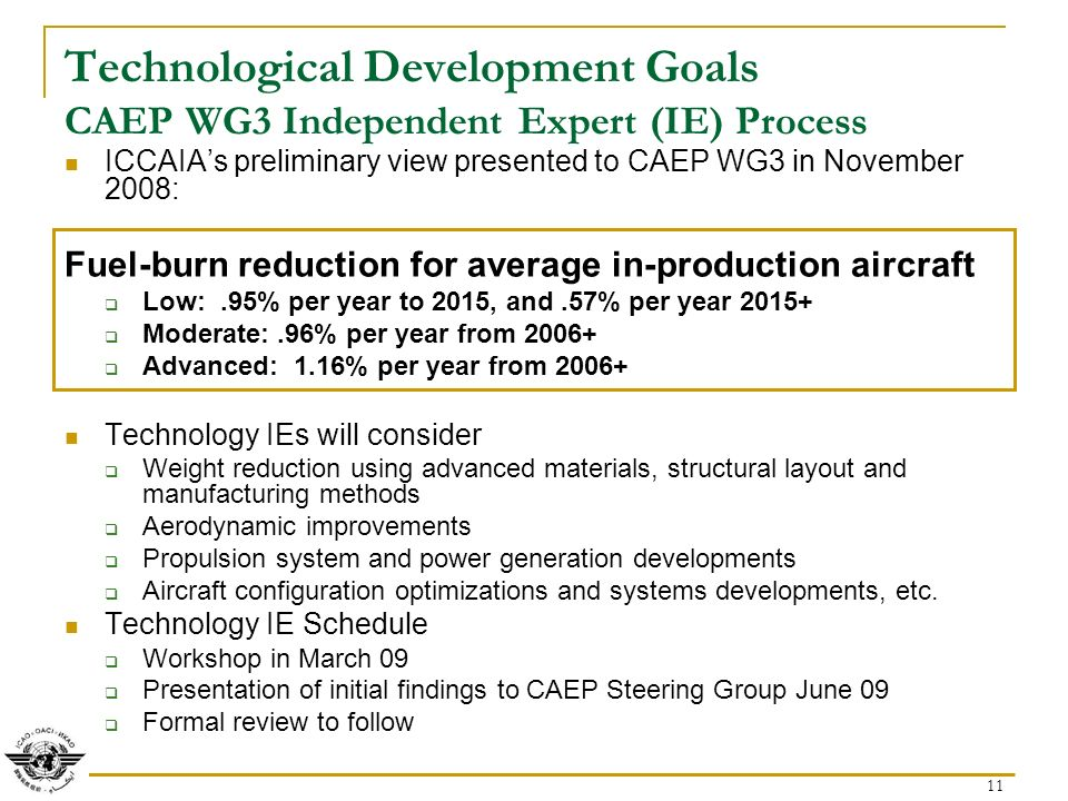 11 Technological Development Goals CAEP WG3 Independent Expert (IE) Process ICCAIAs preliminary view presented to CAEP WG3 in November 2008: Fuel-burn reduction for average in-production aircraft Low:.95% per year to 2015, and.57% per year Moderate:.96% per year from Advanced: 1.16% per year from Technology IEs will consider Weight reduction using advanced materials, structural layout and manufacturing methods Aerodynamic improvements Propulsion system and power generation developments Aircraft configuration optimizations and systems developments, etc.