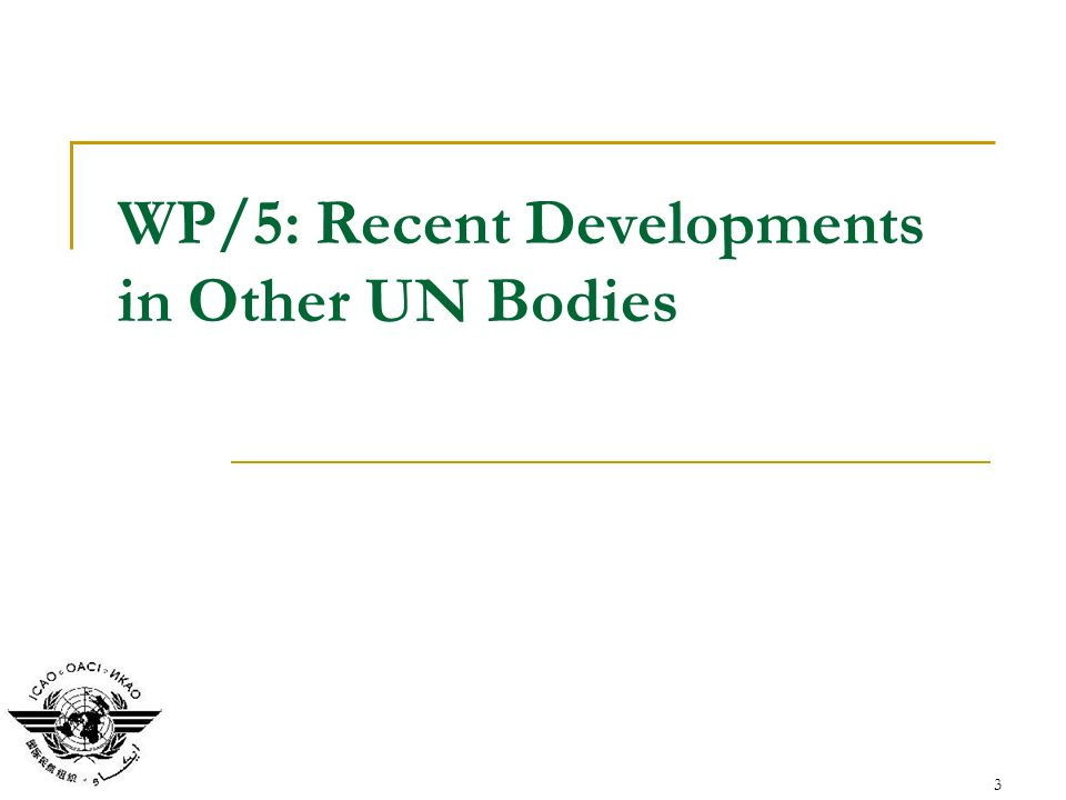 3 WP/5: Recent Developments in Other UN Bodies