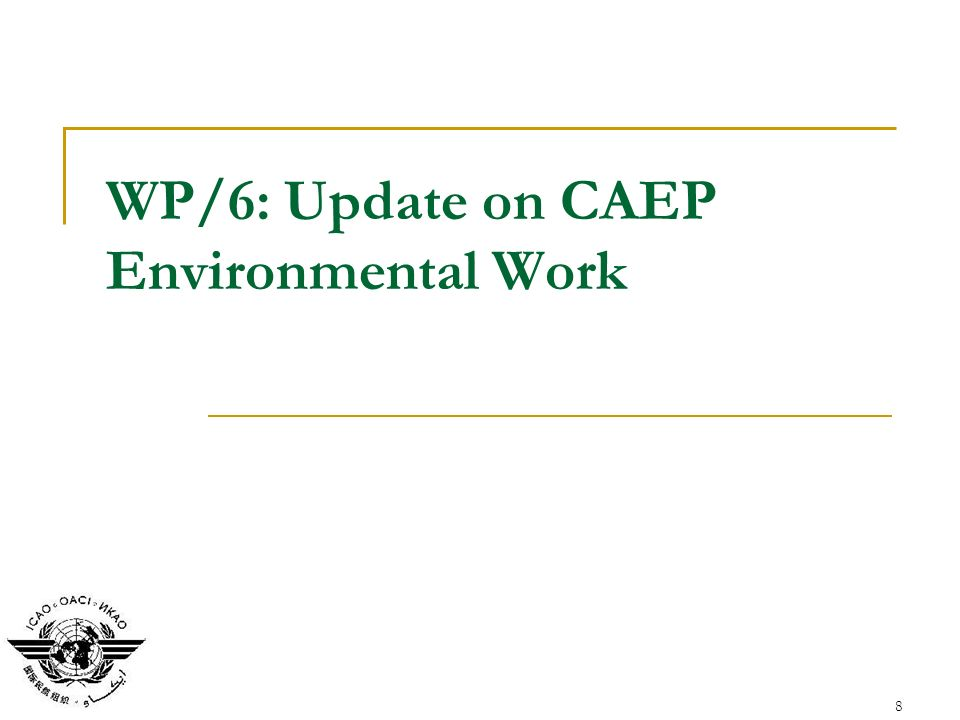 8 WP/6: Update on CAEP Environmental Work