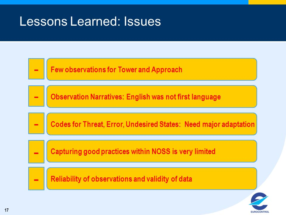 17 Lessons Learned: Issues Few observations for Tower and Approach - Observation Narratives: English was not first language - Codes for Threat, Error,