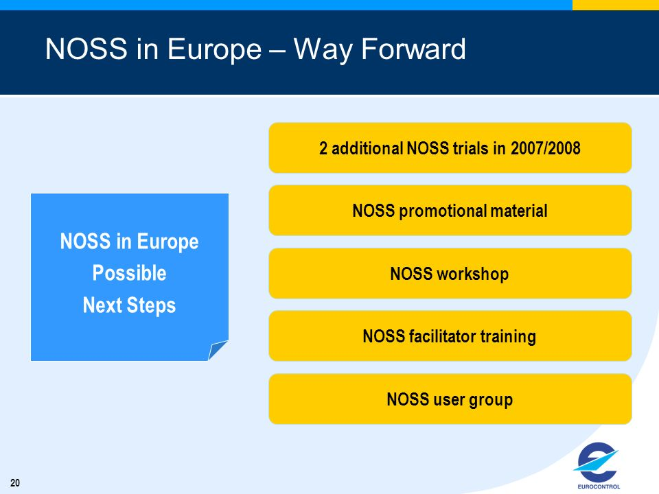 20 NOSS in Europe – Way Forward NOSS in Europe Possible Next Steps 2 additional NOSS trials in 2007/2008 NOSS promotional material NOSS workshop NOSS facilitator training NOSS user group