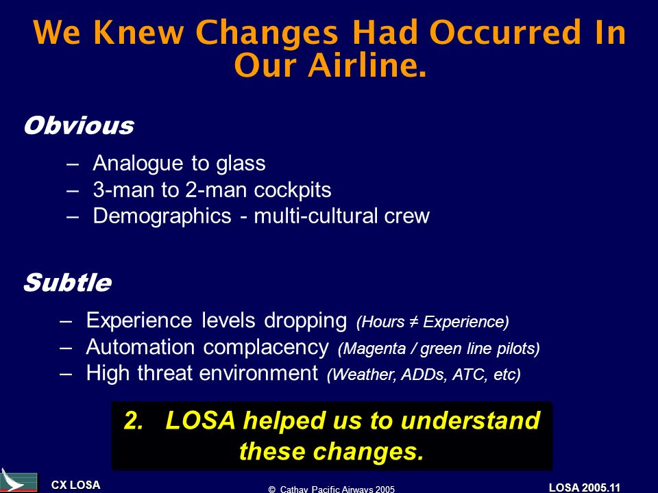 CX LOSA © Cathay Pacific Airways 2005 LOSA 2005.11 We Knew Changes Had Occurred In Our Airline. 2. LOSA helped us to understand these changes. –Analog