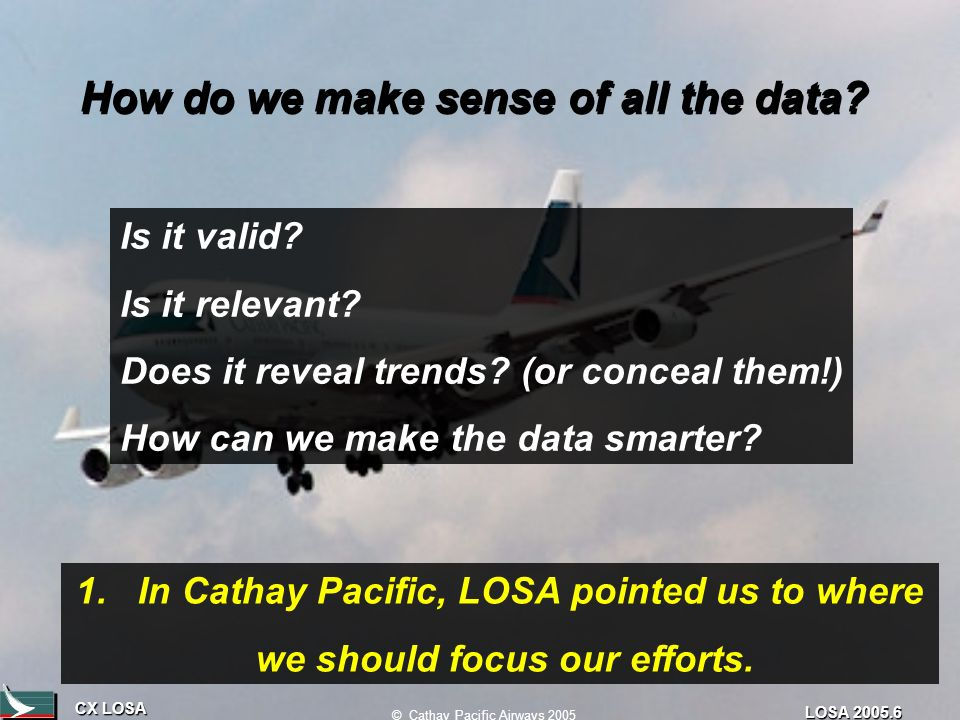CX LOSA © Cathay Pacific Airways 2005 LOSA 2005.6 How do we make sense of all the data.