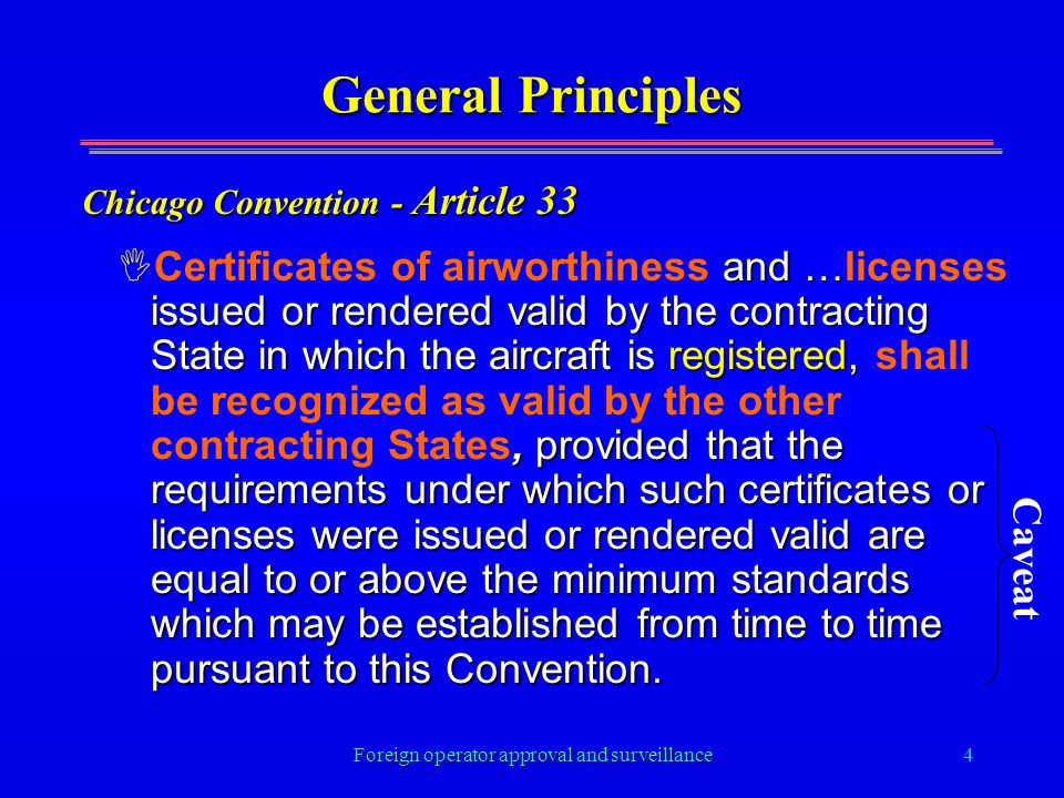 Foreign operator approval and surveillance4 General Principles I and … issued or rendered valid by the contracting State in which the aircraft is regi