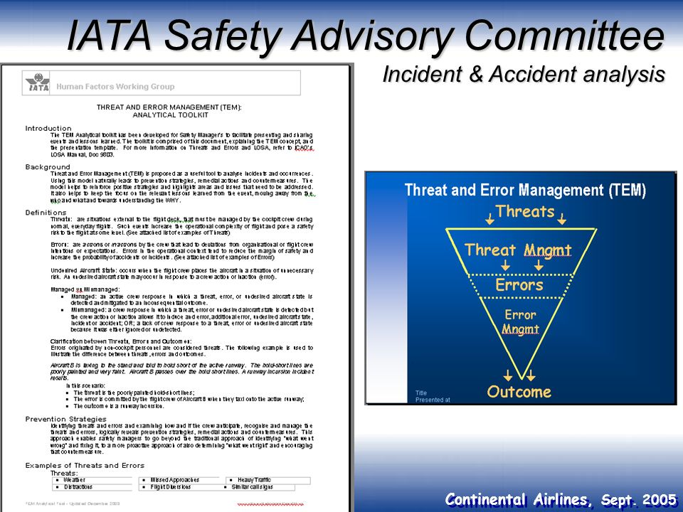 Continental Airlines, Sept. 2005 IATA Safety Advisory Committee Incident & Accident analysis