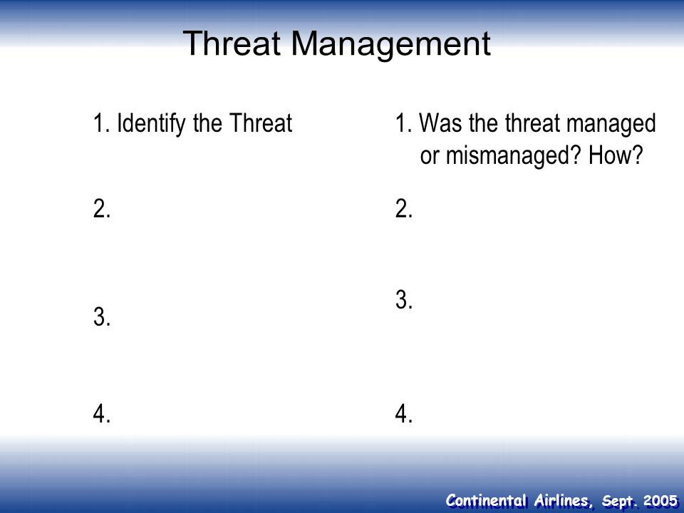 Continental Airlines, Sept. 2005 Threat Management 1. Identify the Threat1. Was the threat managed or mismanaged? How? 3. 2. 4. 3. 2.