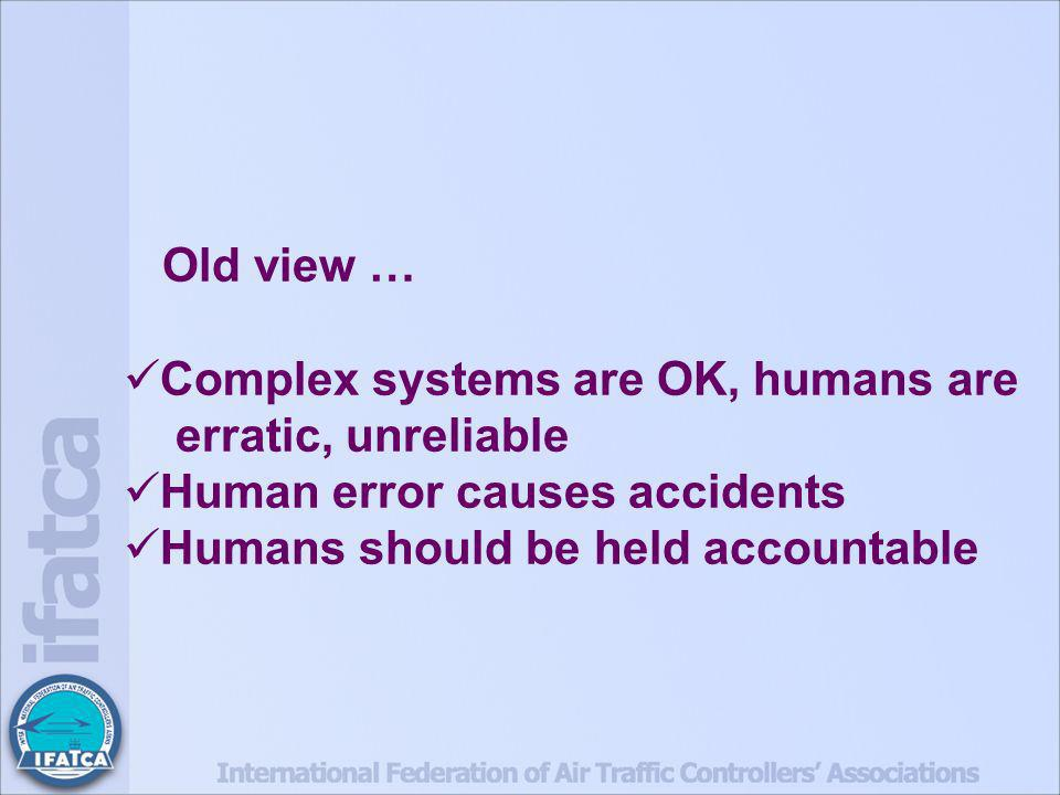 Old view … Complex systems are OK, humans are erratic, unreliable Human error causes accidents Humans should be held accountable